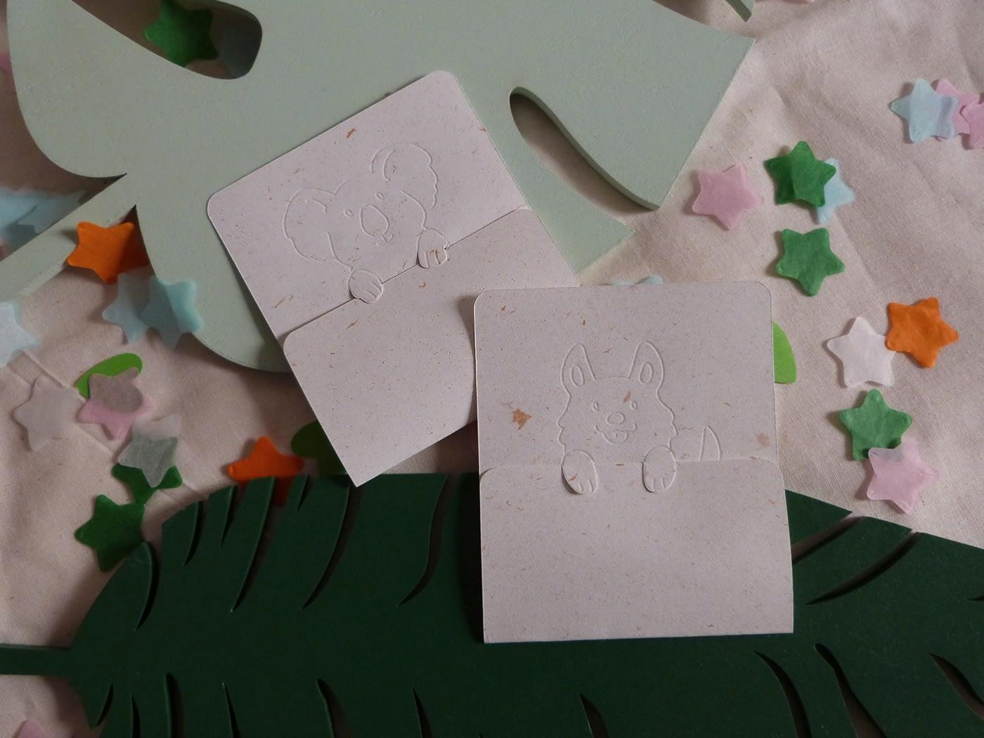 Cartes de Saint Valentin avec animaux mignons, letterpress