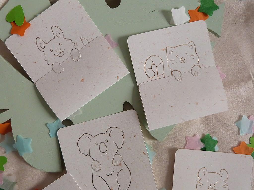 Cartes de Saint Valentin avec animaux mignons en foil