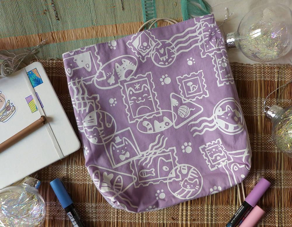 Chats Timbrés - pochette sérigraphiée, violette, faite à la main